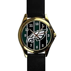 Time Walker Boys Sport NFL Philadelphia Eagles Crocodile Faux Leather Black Analog Watches