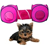 Vktech Kitten Cat Small Pet Dog Tent Toy Play Accessory Supply 2 Cube with 1 Tunnel Playground Magenta