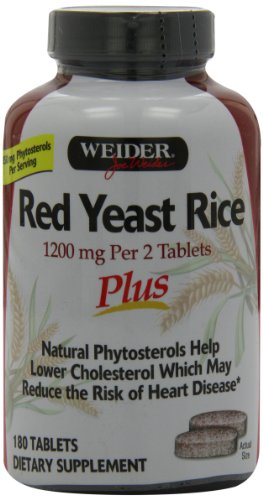 Weider Red Yeast Rice Plus with Phytosterols 1200 mg per 2 Tablets - 180 Tablets (Red Yeast Rice compare prices)