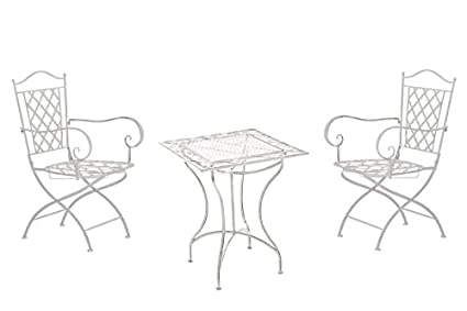 Sedie da giardino, casa in ferro L 1tavolo 2Sedie L design nostalgica L Bianco Antico