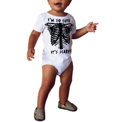 Scary Cute' Zombie Skeleton Child's Halloween Costume Onesie Short Sleeve Shirt