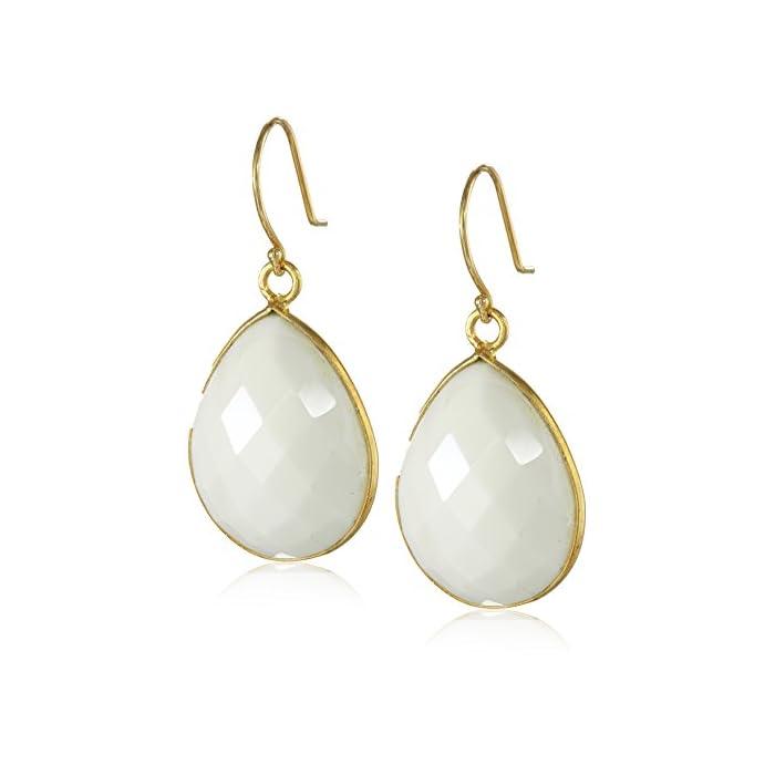 Gold-Plated White Agate Teardrop Earrings