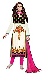 CreationBuddy Off-White,Multi Embroidered Georgette Salwar Suit Dress Material Chudidar Party Festive