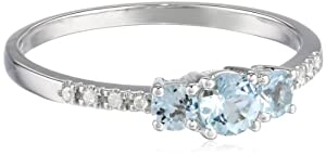 White Gold Diamond (0.04cttw, G-H Color, I2-I3 Clarity) and Aquamarine 3 Stone Ring, Size 6