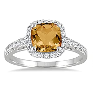 1.75 Carat Cushion Cut Citrine and Diamond Ring in 10K White Gold