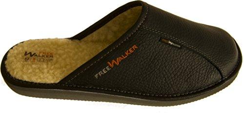 FreeWALKER | Herren Hausschuhe | 100% Echtes Leder, 100% Schafwolle (40, Schwarz)