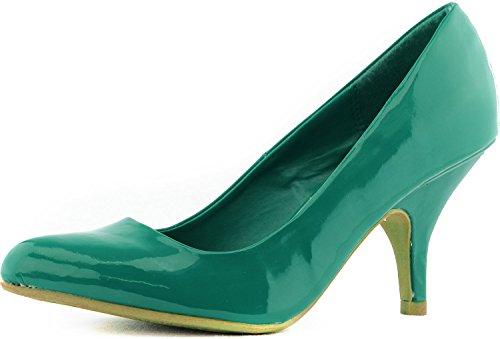Women'S Qupid Tanya-01 Green Patent Pu Leather Pointy Kitten Heel Pumps, 7.5