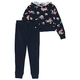 Guess Big Girls 2-Piece Cropped Hoodie & Lounge Pants Set 12 Navy