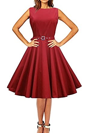 Black Butterfly Clothing Audrey Hepburn Style Vintage Rockabilly Swing Evening Wedding Prom Dress (8, Crimson Red)