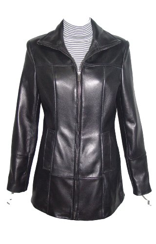 Nettailor Women 4180 Soft Lambskin Leather Simple Easy Casual Jacket Zip Front