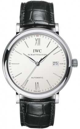 IWC Portofino Silver Dial Black Leather Strap Automatic Mens Watch 3565-01
