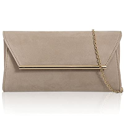 Xardi London Nude Medium Women Envelope Faux Suede Leather Clutch Baguette Ladies Evening Handbag - baguettes