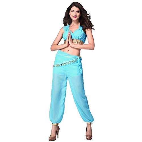 Aladdin Nightclub Uniform Genie Halloween Costume Top Coat Pants Scarf Blue