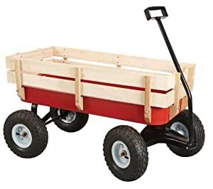NEW All Terrain Steel and Wood Wagon w/ Extra Large Air Tires for kids fun play & hauling