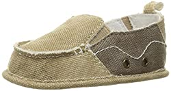 Baby Deer Canvas with Gore Slip On (Infant/Toddler), Tan Brown, 2 M US Infant