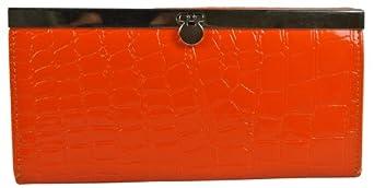 Slim Moc Croc Accordian Flat Clutch Wallet w/ Credit Card Flip in Choice of Colors (Tangerine)