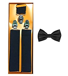 Sorellaz Black Suspender for Men/Women & Bow Combo