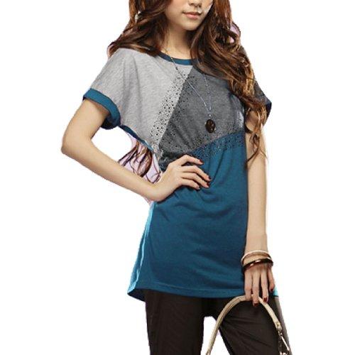 Women Stud Decor Front Short Bat Sleeve Tunic Shirt Cyan XS