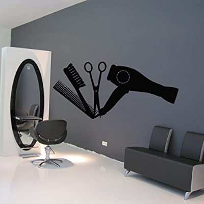 Wall Decal Decor Decals Art Hair Hairdryer Salon Scissors Brush Curling Curl Beauty Master Stylist Girl Woman (M937)