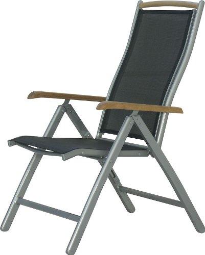 IB-Style-DIPLOMAT-Hochlehner-Klappstuhl-7-Positionen-2-Farben-Aluminium-Textilen-Teakholz-mehrfach-gewebt-Gartenstuhl-Klappsessel-Sessel-Gartenmbel-Gartengarnitur-Farbe-Silber