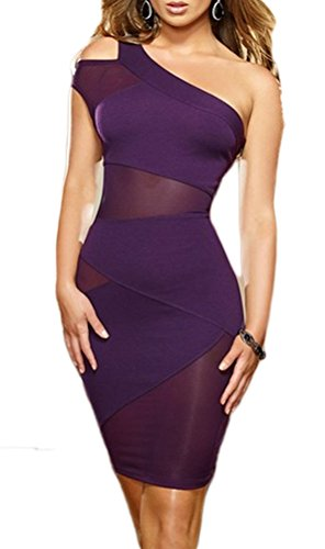 Happylife12 Women's One Shoulder See Through Mini Dress Clubwear Purple
