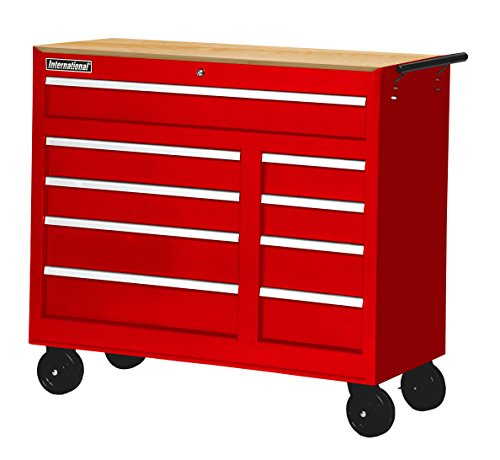 International 42 in. 9-Drawer Ball Bearing Slides Roller Cabinet with Hard Wood Top in Red
