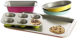 Oster 92286.05 Color Splash Lyneham 5-Piece Carbon Steel Bakeware Set, Gray