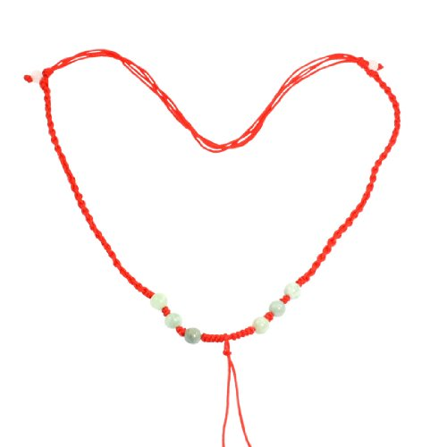 Rosallini 5 Pcs Red Braid Beaded Pull String Necklace Gift for Lady