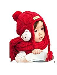 Small-laly Winter Warm Woolen Knitted Lovely Scarf Hat Caps for Baby Kids Red