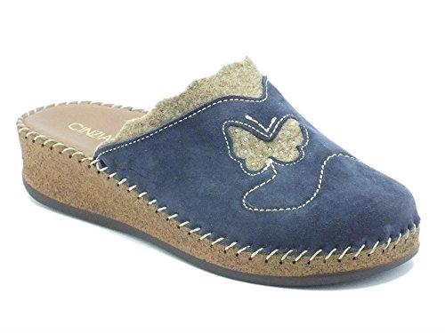 Pantofole Cinzia Soft in camoscio blu (Taglia 39)