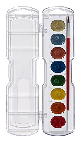 Prang Washable Watercolor Set, 8 Metallic Colors With Brush, Assorted Colors (80516) front-57813
