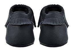 Sayoyo Baby Black Tassels Soft Sole Leather Infant Toddler Prewalker Shoes (Newborn, Black)