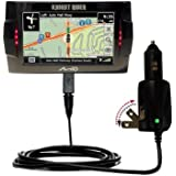 Advanced Gomadic 2 in 1 Auto / Car DC Charger Compatible with Mio Knight Rider with Foldable Wall AC Charging plug - Amazing design built with TipExchange Technology