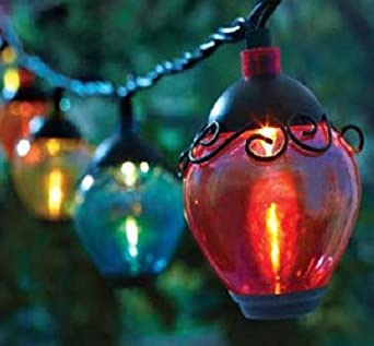 Colored String Lights For Patio : Amazon.com: Garden Four Seasons Courtyard Multi Colored Globe Lantern Solar String 10 Light Set ...