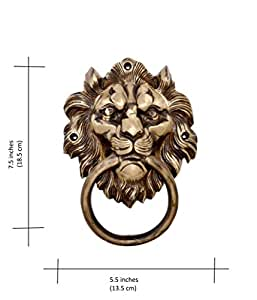 """Two Moustaches Two Moustaches Brass 7.5"""" Lion Mouth Door Knocker"""