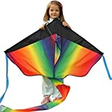 Huge Rainbow Kite for Kids - a Best Selling 43-inch Wingspan Airborne - Floats In The Breeze - Perfect Easy Flyer - Lightweight And Strong - Satisfaction guaranteed