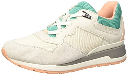 Geox D Shahira B Scarpe Low-Top, Donna, Verde (Off White/Watersea), 37