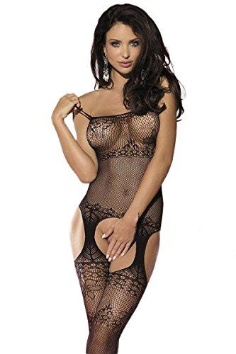 Sexy Reizwäsche Dessous Negligè Strapskleid Netz Bodystocking