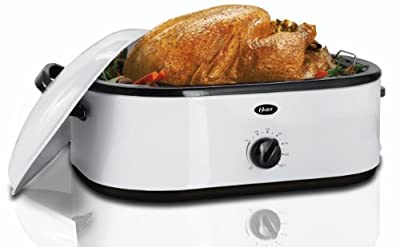 Oster CKSTRS71 18-Quart Roaster Oven with Buffet Server, White