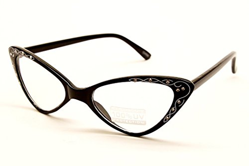 SPEXX Womens Vintage 50s Style Cat Eye Clear Sunglasses 9660RH