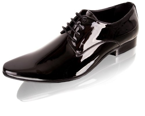 Black Contemporary Patent Tuxedo Shoes (046)-11R