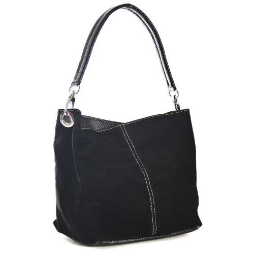 Big Handbag Shop Womens Small Real Italian Suede Hobo Slouch Shoulder Bag