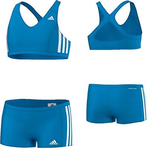 adidas Mädchen Bikini 3-Stripes 2 Teiler, Blau/Weiß, 140, AB6868