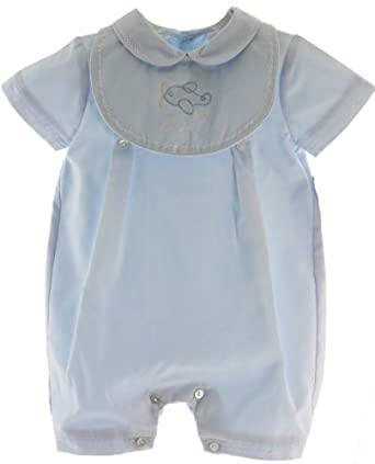 Baby Boys Blue Dressy Sailboat Romper & Hat Set Take Home Outfit