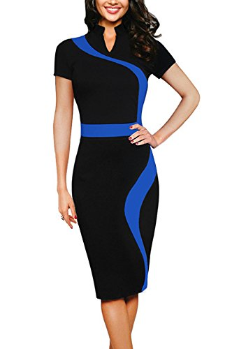 REPHYLLIS Women Elegant Wear to Work Casual Cocktail Evening Party Summer Business Pencil Dress Blue XL