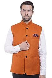 Wintage Men's Rayon Bandhgala Festive Orange Nehru Jacket Waistcoat