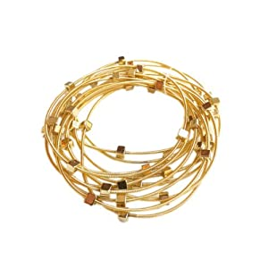 Golden Yellow & Gold Cube Guitar String Bracelets - Set of 9