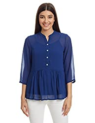 And Women's Button Down Top (AW16A36T180_Navy_8)