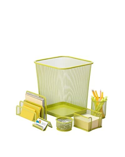 Honey-Can-Do 6-Piece Powder Coated Steel Mesh Desk Set, Lime