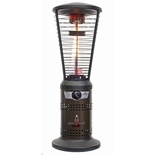 "Lava Heat Mini Ember 10,000 Btu Outdoor Patio Tabletop Heater With ""Easy Start"" Pilot Ignition & Exclusive Spiral Flame Design, Adjustable Heat Settings, Safety ""Tip-Over"" Switch, Gun Metal Finish"